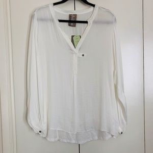 ANTHROPOLOGIE Sheer Ivory Vneck Top Sz L - NWT